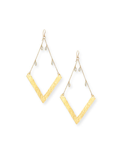 Golden Wedge Dangle Drop Earrings