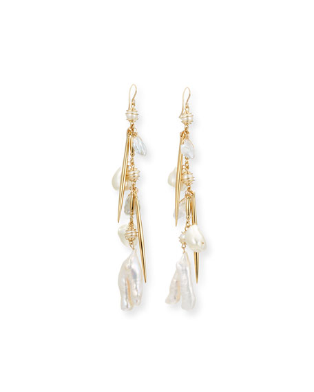 Devon Leigh Pearl Cluster Dangle Drop Earrings