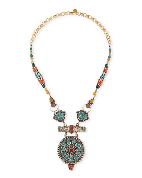 Devon Leigh Antiqued Turquoise, Coral & Lapis Pendant