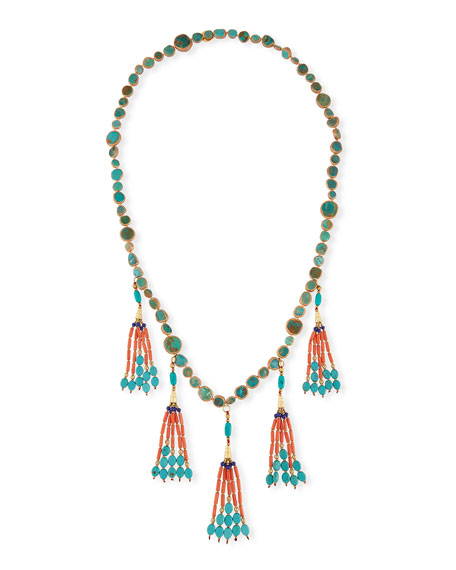 Devon Leigh Coral & Turquoise Tassel Necklace