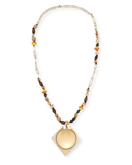 """Beaded Lucite Pendant Statement Necklace, 38"""""""