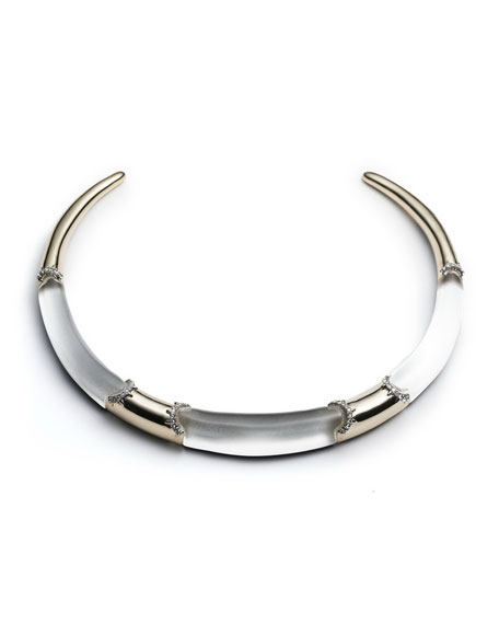 Alexis Bittar 10k Plated Crystal Trim Collar Necklace