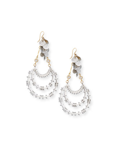 Dangling Beaded Hoop Drop Earrings