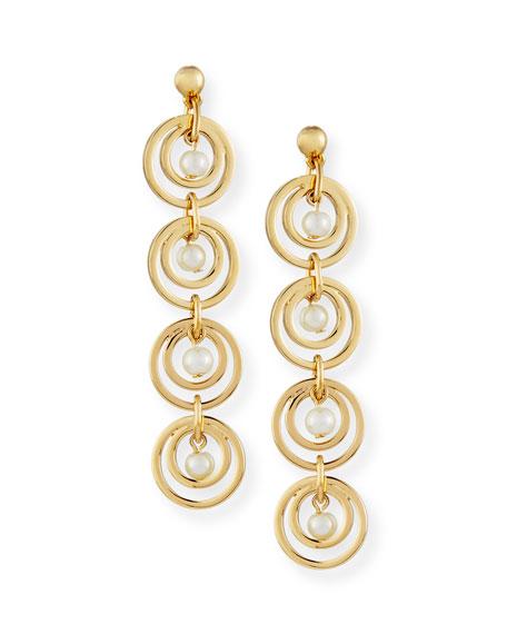 Tiered Pearly Hoop Drop Earrings