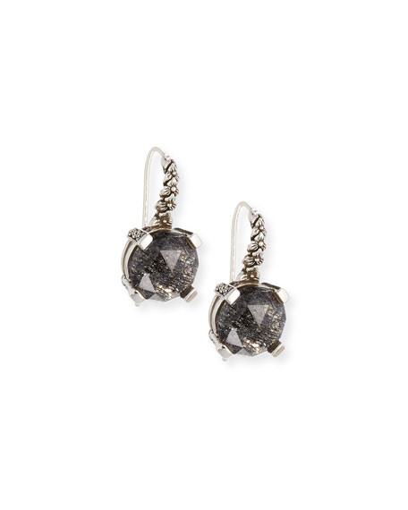 Stephen Dweck 12mm Faceted Black Quartz Drop Earrings
