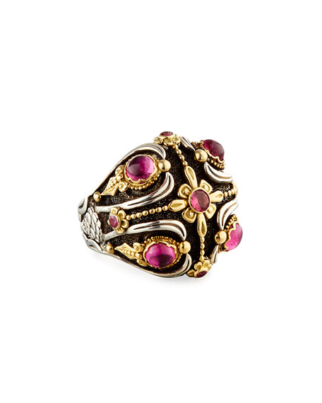 Pink Tourmaline Dome Ring, Size 7