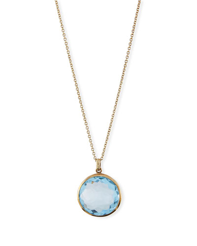 18k Gold Rock Candy Lollipop Pendant Necklace, Lt Blue Topaz