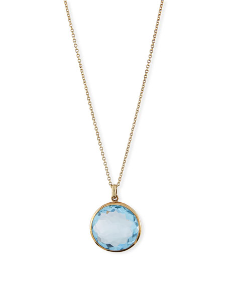 Lollipop 18K Yellow Gold, Green Amethyst Over Blue Topaz & Diamond Medium Pendant Necklace