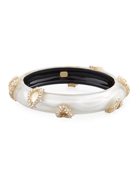 Alexis Bittar Crystal Satin Liquid Hinge Bracelet, Silver