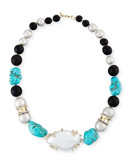 Alexis Bittar Liquid Silk Station Necklace, Silver/Turquoise