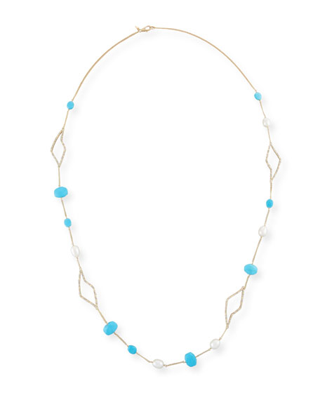 Alexis Bittar Crystal Petal Station Necklace, Golden/Turquoise