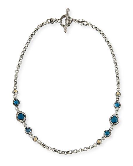 Konstantino London Blue Topaz Station Necklace