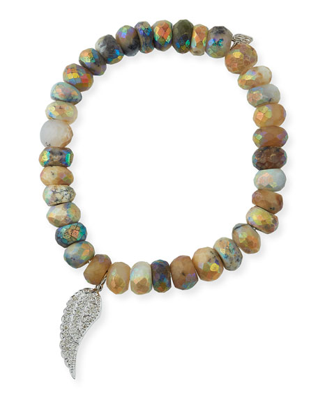 Dendrite Opal Beaded Bracelet with Diamond Wing Charm
