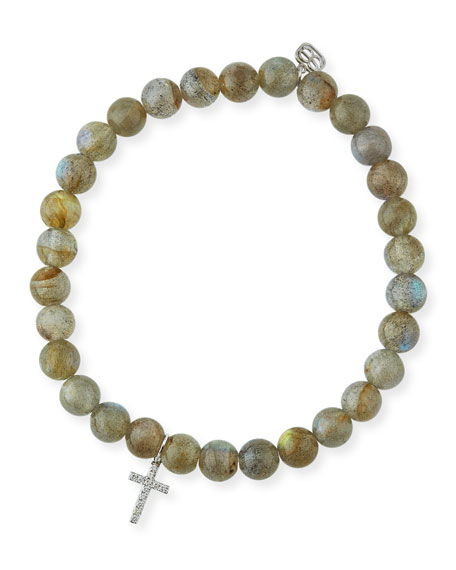 6mm Beaded Labradorite Bracelet with Diamond Cross Charm
