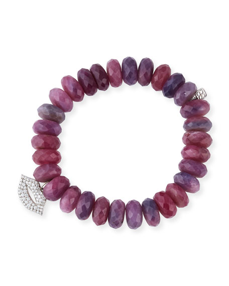 12mm Beaded Ruby Rondelle Bracelet with Diamond Lips Charm