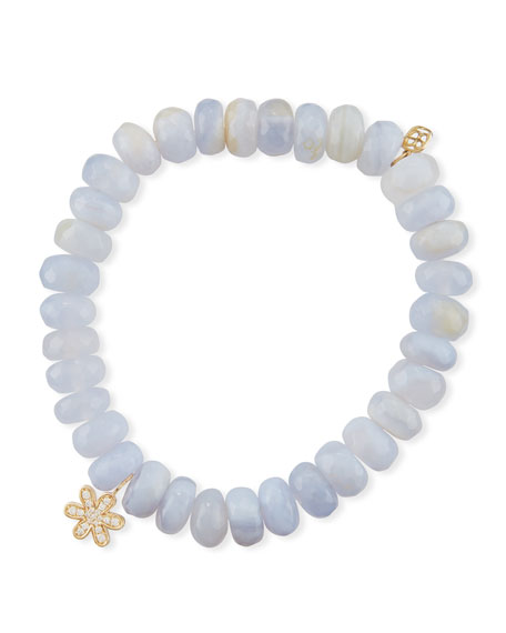Sydney Evan Anniversary 8mm Blue Chalcedony Bracelet with