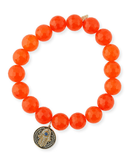 10mm Orange Agate Beaded Bracelet with Diamond & Sapphire Hamsa Charm