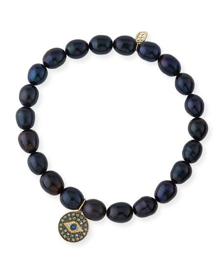 Sydney Evan 6mm Black Potato Pearl Beaded Bracelet