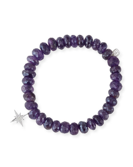 Sydney Evan 8mm Iolite Beaded Bracelet with Diamond Rondelle t4yq35