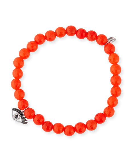6mm Beaded Bright Orange Agate Bracelet with Diamond Eyelash Charm
