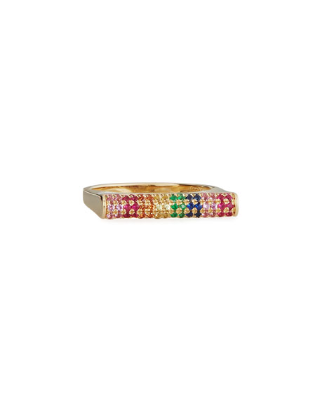 Sydney Evan Pavé Rainbow Sapphire Roll Bar Ring, Size 6.5