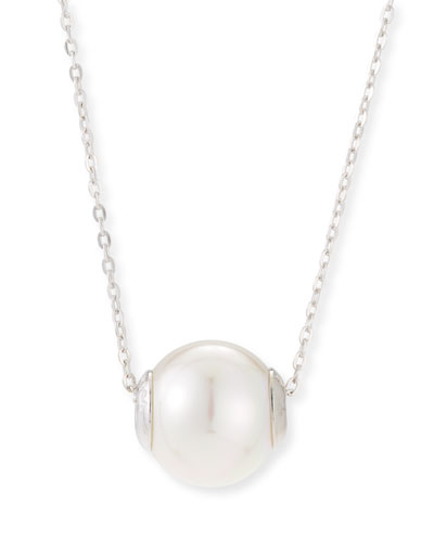 12mm Simulated Pearl Pendant Necklace, Silver/White