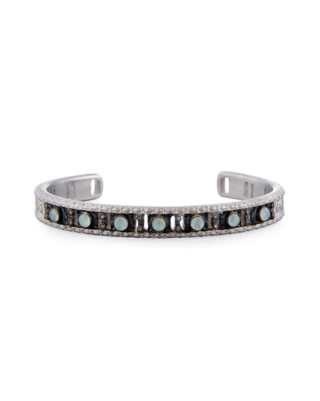 New World Opal Triplet Cuff Bracelet with Diamonds