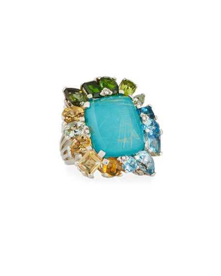 Gold Rutilated Quartz over Turquoise Doublet Ring, Size