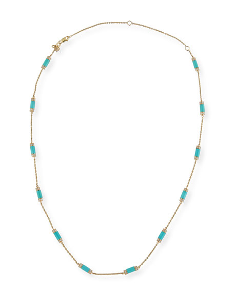 Turquoise Bar Station Necklace with Diamonds