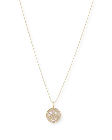 Medium Happy Face 14K Necklace with Diamonds