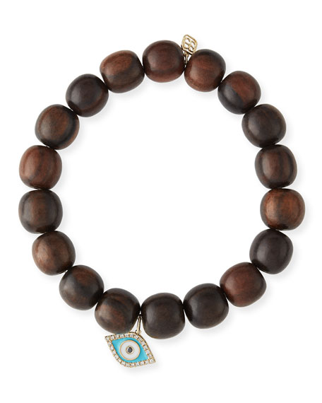 Sydney Evan 10mm Wood Beaded Bracelet w/ 14k