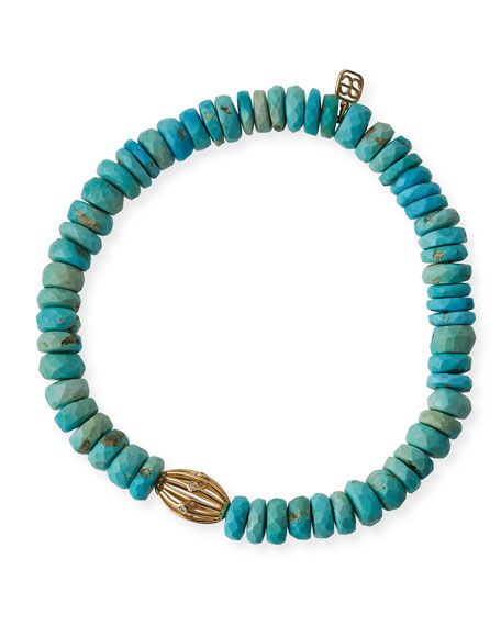Sydney Evan 8mm Turquoise Beaded Bracelet w/ 14k