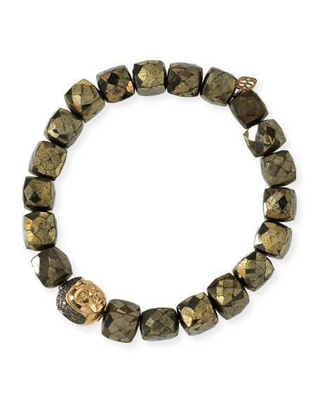 8mm Cubed Pyrite Beaded Bracelet w/ 14k Diamond Buddha Bead