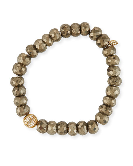 Sydney Evan 8mm Pyrite Beaded Bracelet w/ 14k