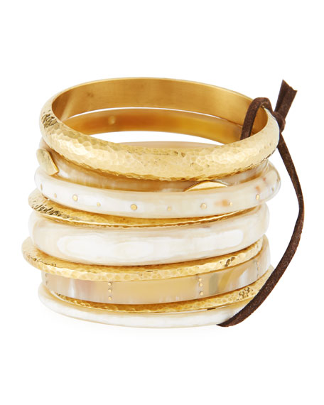 Ashley Pittman Light Horn & Bronze Stacking Bangles,