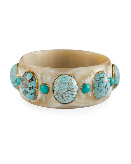 Ashley Pittman Michezo Light Horn & Turquoise Bangle