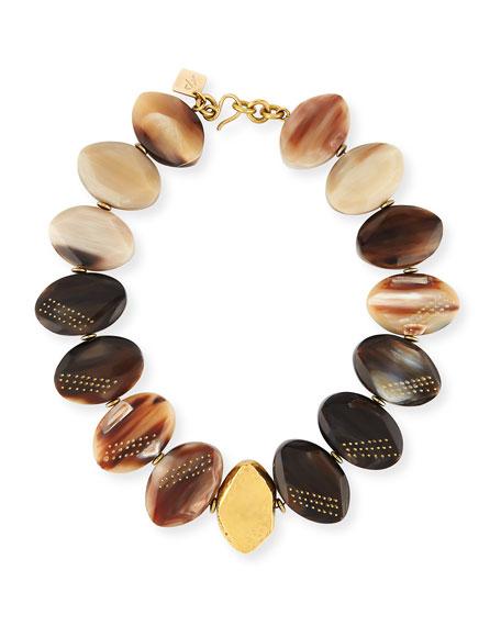 Ashley Pittman Shari Mixed Horn Petal Collar Necklace