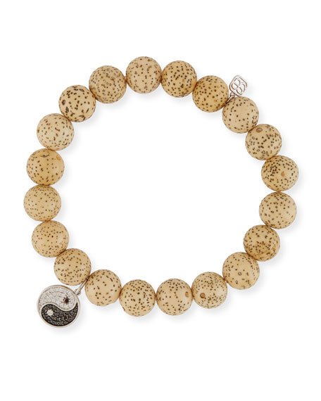 Lotus Seed Beaded Bracelet w/ 14k Diamond Yin Yang Charm