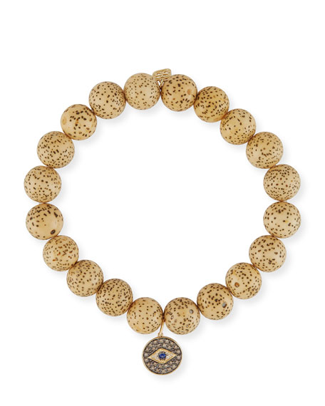 Sydney Evan Lotus Seed Beaded Bracelet w/ 14k