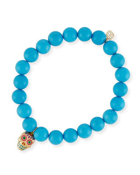 Sydney Evan Beaded Turquoise Bracelet with Sugar Skull