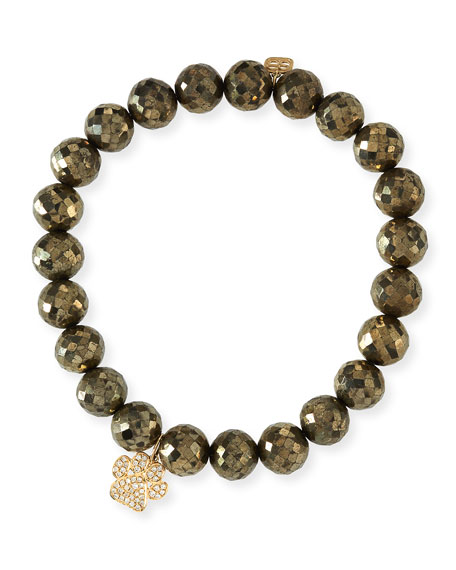 Pyrite Beaded Bracelet w/ 14k Diamond Paw Charm