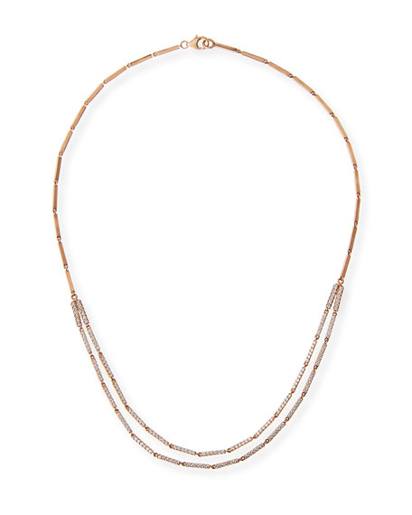 Layered Double Bar Diamond Necklace in 14K Rose Gold
