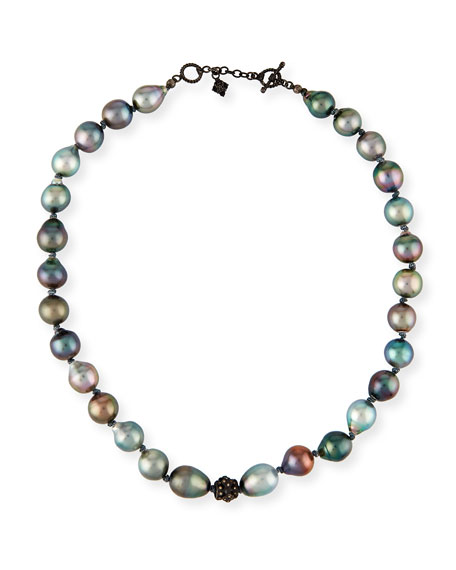 Armenta Old World Midnight Tahitian Pearl Necklace with