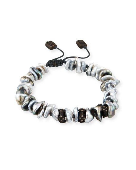 Armenta Old World Midnight Keshi Pearl Bracelet with