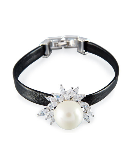 Fallon Monarch Pearly Leather Cuff Bracelet, Black