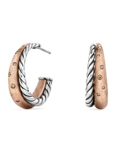 Pure Form Bronze & Silver Hoop Earrings with Cognac Diamonds