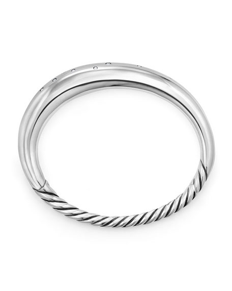 Image 2 of 3: David Yurman 95mm Pure Form Smooth Bracelet with Diamonds