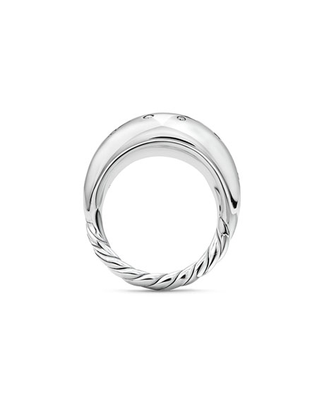 Pure Form Sterling Silver Ring with Diamonds