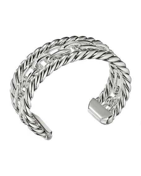 David Yurman Wellesley Sterling Silver Three-Row Cuff Bracelet with Diamonds
