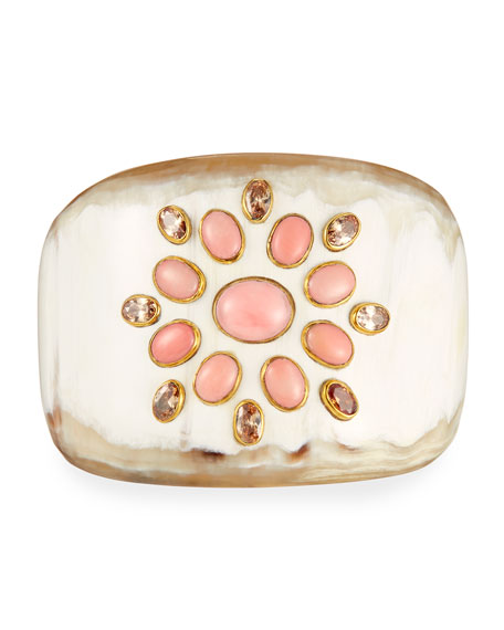 Ashley Pittman Bendi Light Horn Coral Cuff Bracelet